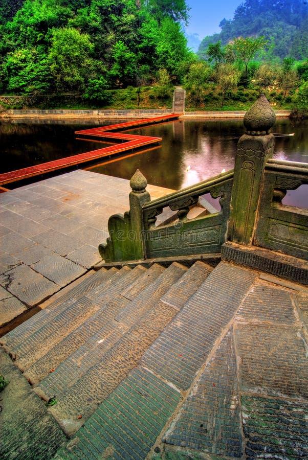 shan świątyni wudan jezioro obraz royalty free