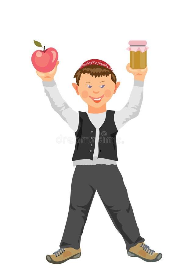 Shana tova, żydowski nowy rok, śmieszna chłopiec z jabłkiem i miód, royalty ilustracja