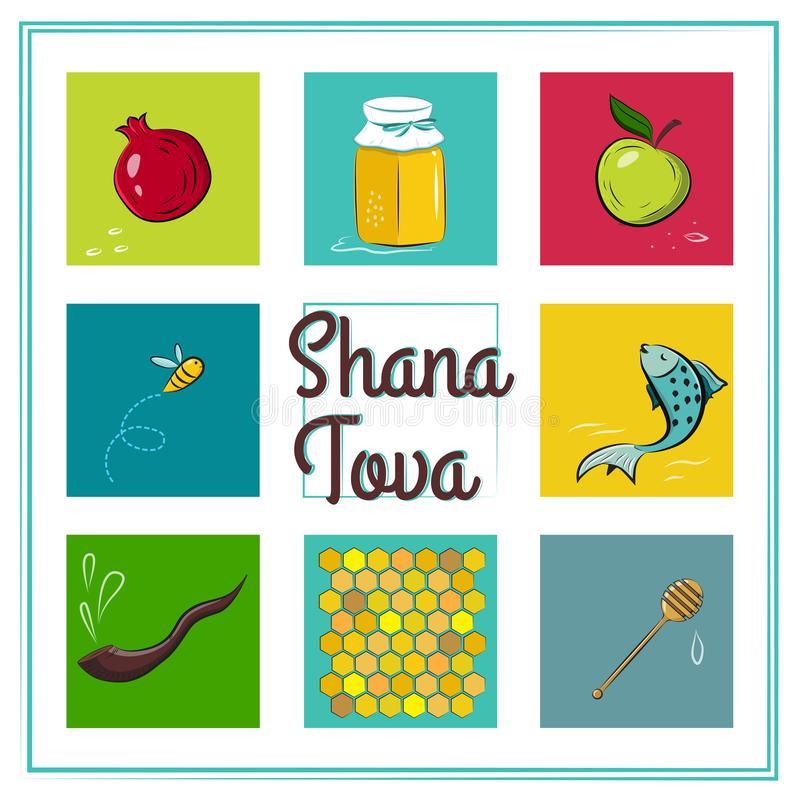 SHANA TOVA CARD. Icons of Rosh Hashanah Jewish New year stock illustration