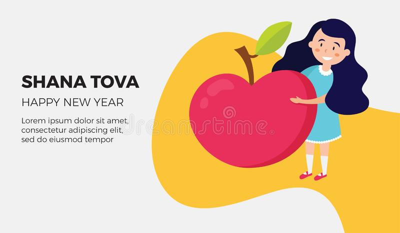 Shana tova card with happy girl holding red apple. Vector vector illustration