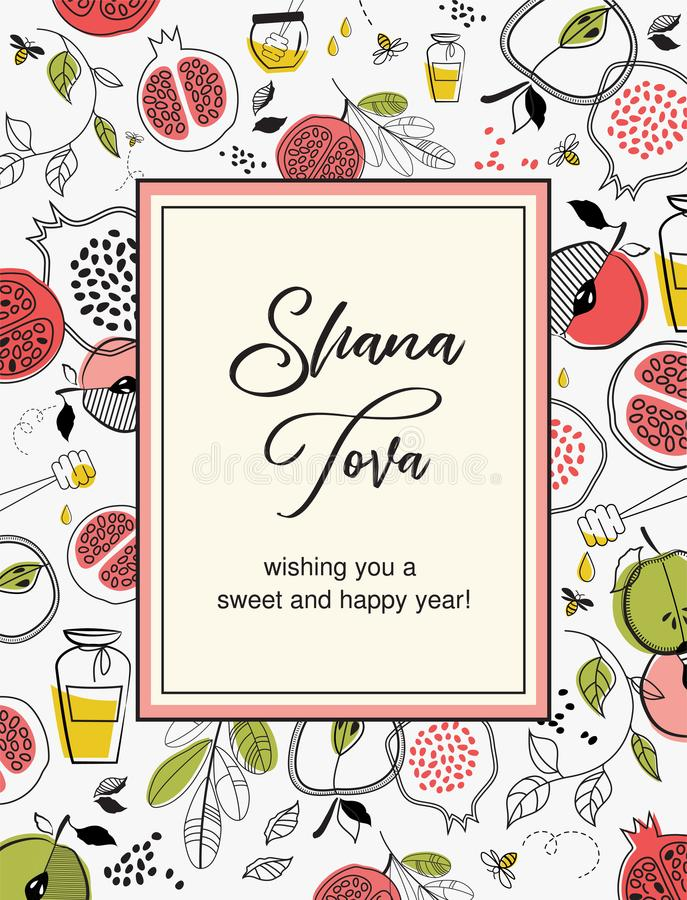 SHANA TOVA CARD, Rosh HaShanah Greeting Card, Jewish New Year. Card with pattern of symbols for Rosh Hashana. Editable royalty free illustration