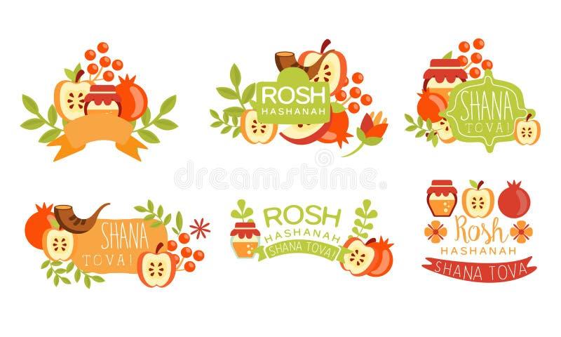 Shana Tova Colorful Labels Set, Rosh Hashanah Jewish Holiday Banner, Poster, Badge Design Elements Vector Illustration. On White Background royalty free illustration