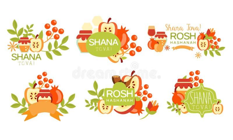 Shana Tova Colorful Labels Set, Rosh Hashanah Jewish Holiday, New Year Banner, Poster, Badge Design Elements Vector. Illustration on White Background vector illustration