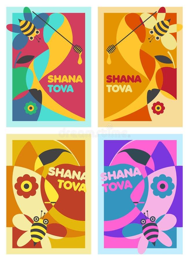 Shana Tova – ein Satz von vier Plakaten entwerfen für Rosh Hashana lizenzfreie abbildung