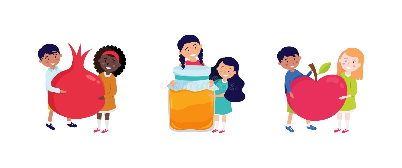 Shana tova greeting card with happy kids holding rosh hashana symbols, appla, pomegranate and honey. Vector vector illustration