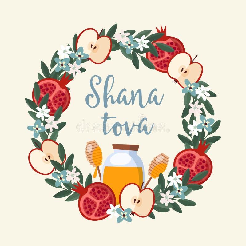 Shana Tova-Grußkarte, Einladung für jüdisches neues Jahr Rosh Hashanah Blumenkranz gemacht vom Granatapfel und vom Apfel stock abbildung