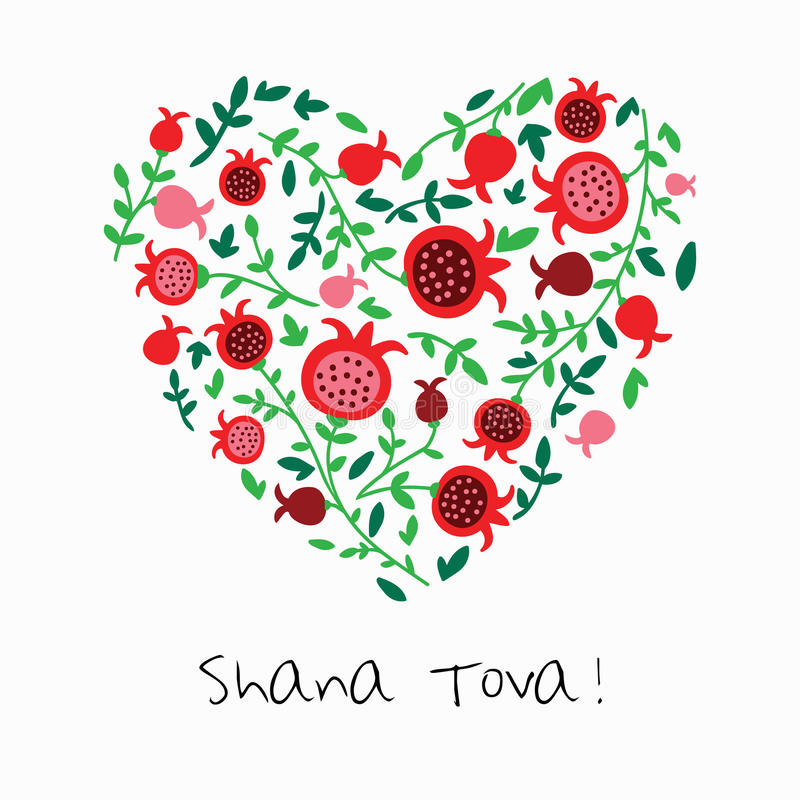 Shana Tova Happy New Year on hebrew. Greeting card for Jewish New Year with flowers and traditional elements of Holiday Rosh Hashanah royalty free illustration