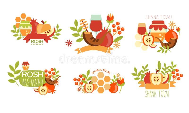 Shana Tova Labels Set, Rosh Hashanah Jewish Holiday Banner, Poster, Badge Design Elements Vector Illustration. On White Background royalty free illustration
