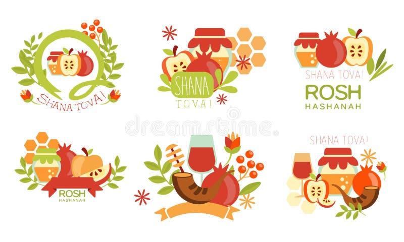 Shana Tova Labels Set, Rosh Hashanah Jewish Holiday, New Year Banner, Poster, Badge Design Elements Vector Illustration. On White Background stock illustration