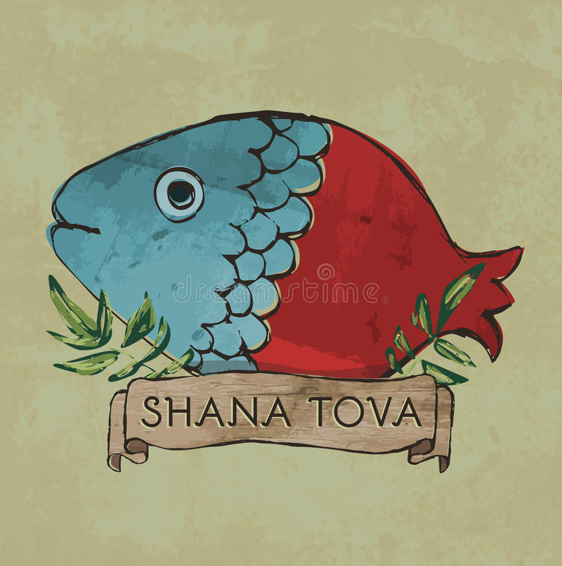 Shana Tova postcard design for Rosh Hashana vector illustration