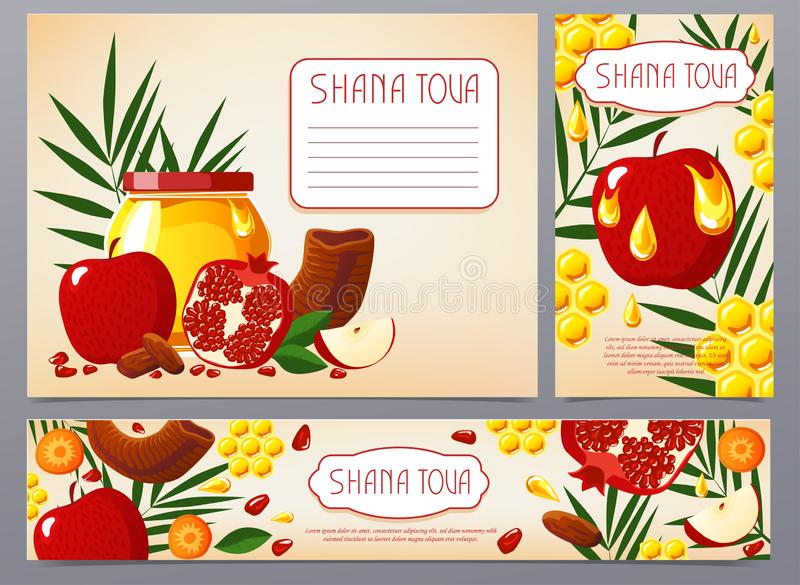 Shana Tova. Set of new year banners with honey, shofar, apple, pomegranate, fish, carrot, palm. Happy New Year in vector illustration