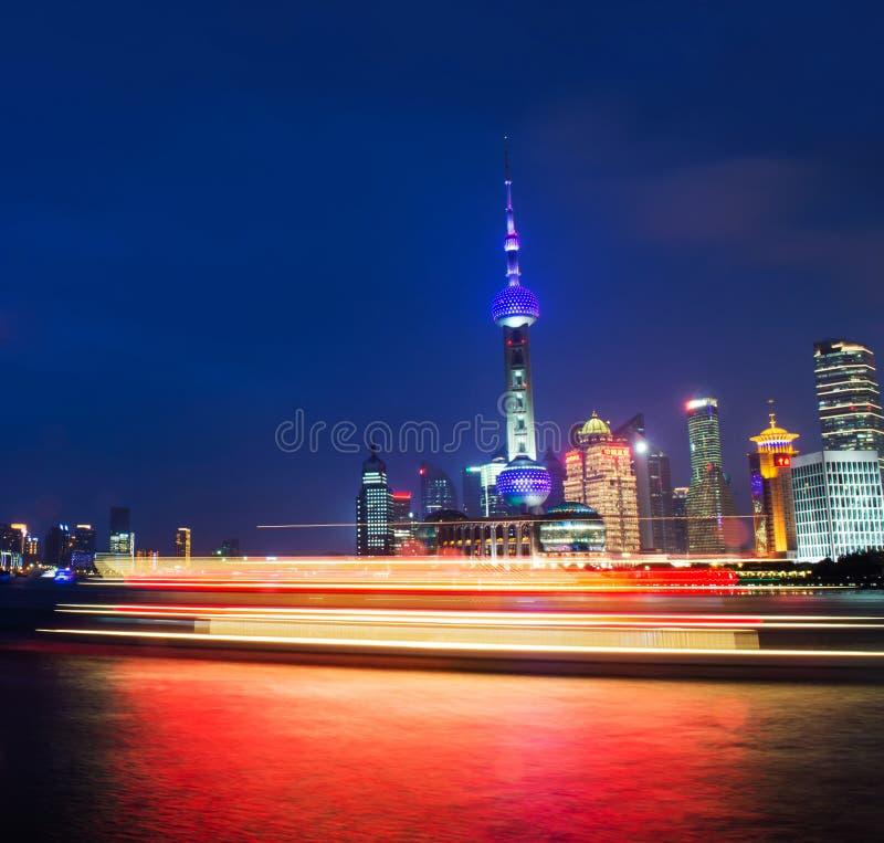 Shang Hai, Chine Durée de nuit photos stock