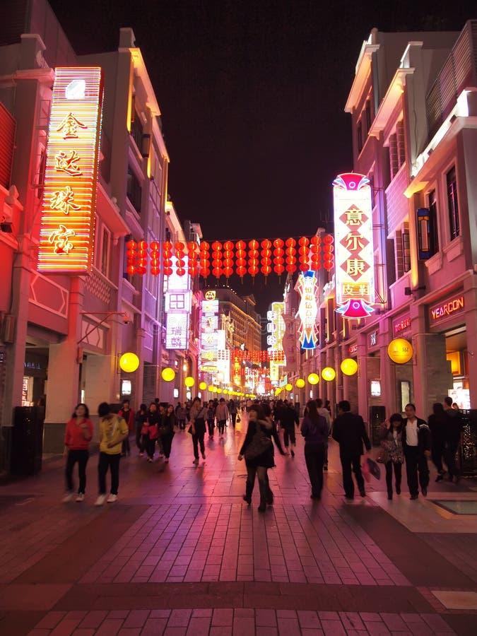 Shang Xia Jiu lu , Shopping Street in Guangzhou stock image