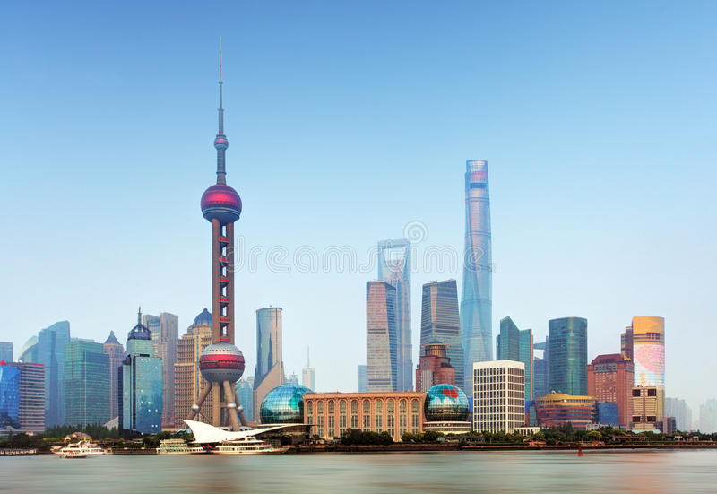 Shangahi horisont - cityscape, Kina royaltyfri fotografi