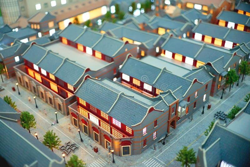 Shangai, China - 05/06/2017 francés Consession del museo del planeamiento urbano en el tiro miniatura de la antena del cambio de  foto de archivo libre de regalías
