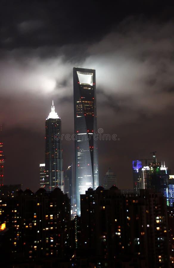 Shangai en la noche fotos de archivo libres de regalías