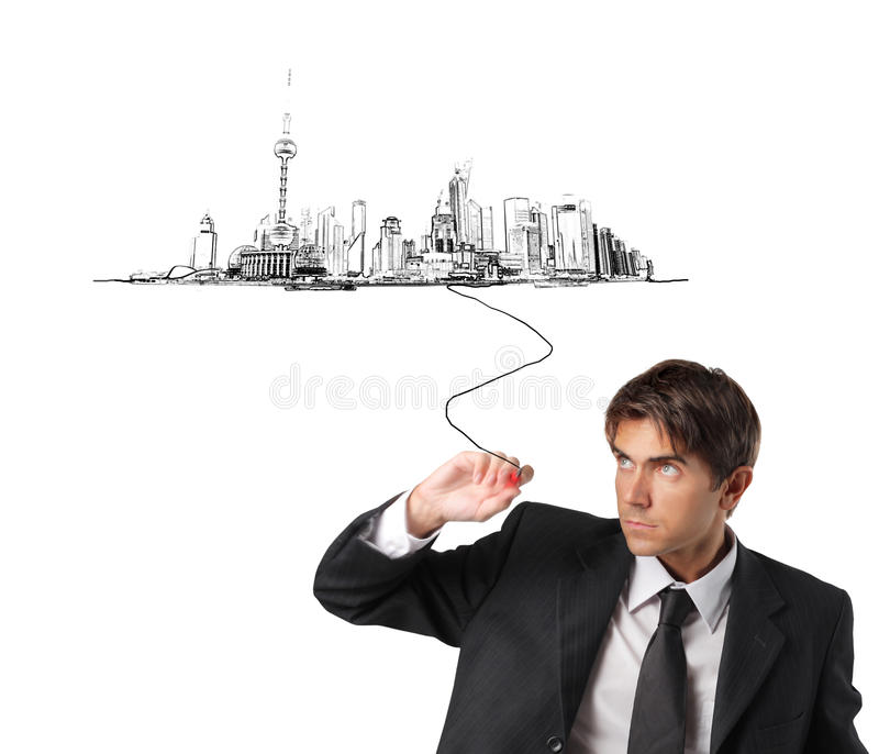 Download Shanghai stock photo. Image of drawing, architecture - 10572688