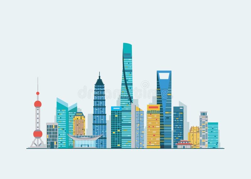 Shanghai abstrakt begrepphorisont stock illustrationer