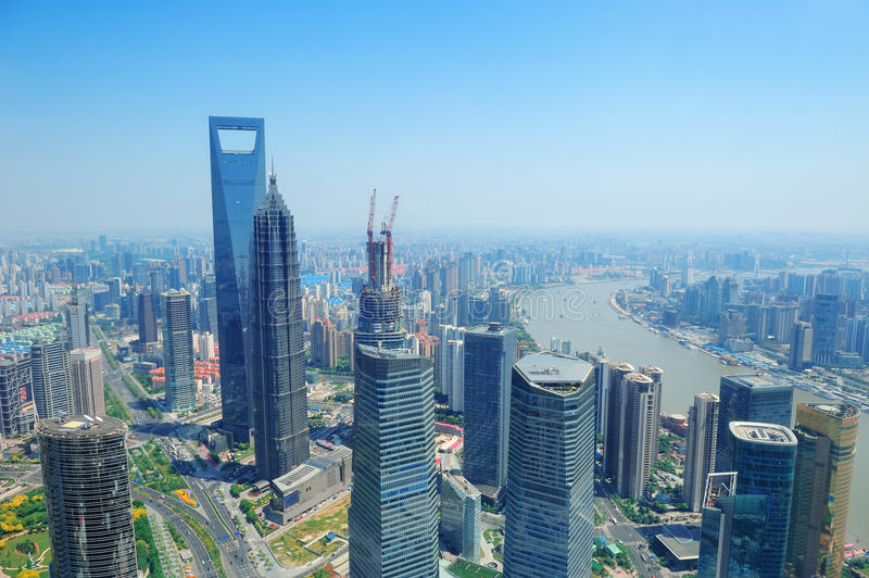 Download Shanghai Aerial In The Day Royalty Free Stock Photography - Image: 26317787