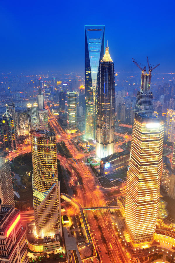 Shanghai aerial at dusk. Shanghai aerial view with urban architecture at dusk stock photo