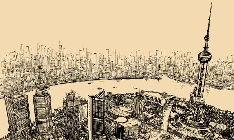 Shanghai - aerial view above the river vector illustration