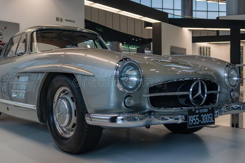 Shanghai Auto Museum exhibits a collection of vintage and modern automobiles, details and the device and development automotive in stock photo