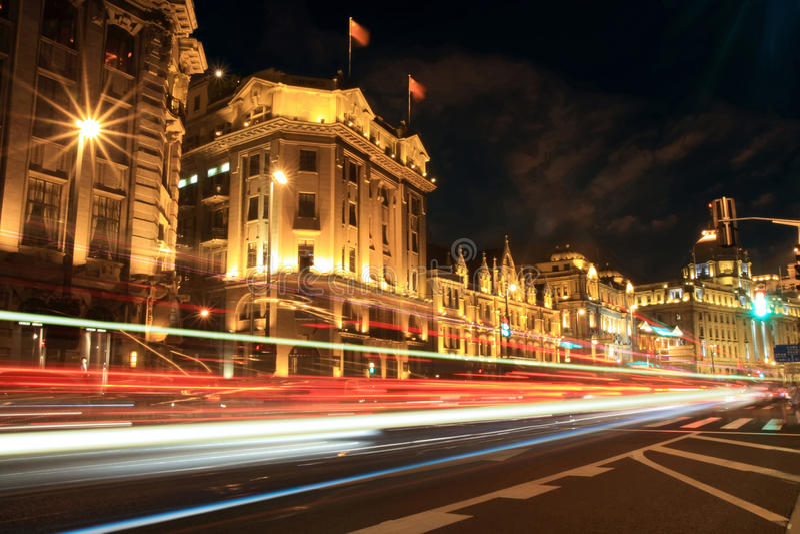 Shanghai (a barreira) na noite fotos de stock royalty free