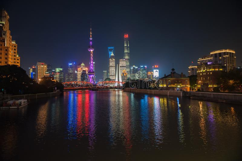 Shanghai Bund. Is located on the banks of the Huangpu River in Shanghai, China. The Bund is 1.5 kilometers in length. It runs from Yan`an East Road in the south royalty free stock images