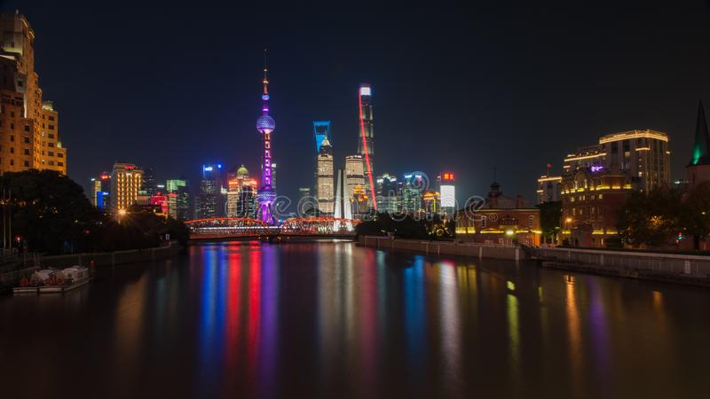 Shanghai Bund. Is located on the banks of the Huangpu River in Shanghai, China. The Bund is 1.5 kilometers in length. It runs from Yan`an East Road in the south royalty free stock image