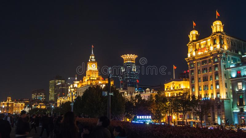 Shanghai Bund. Is located on the banks of the Huangpu River in Shanghai, China. The Bund is 1.5 kilometers in length. It runs from Yan`an East Road in the south stock photos