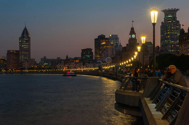 Shanghai Bund. Is located on the banks of the Huangpu River in Shanghai, China. The Bund is 1.5 kilometers in length. It runs from Yan`an East Road in the south stock photo