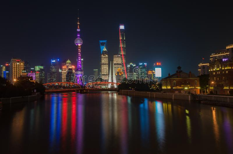 Shanghai Bund. Is located on the banks of the Huangpu River in Shanghai, China. The Bund is 1.5 kilometers in length. It runs from Yan`an East Road in the south stock images