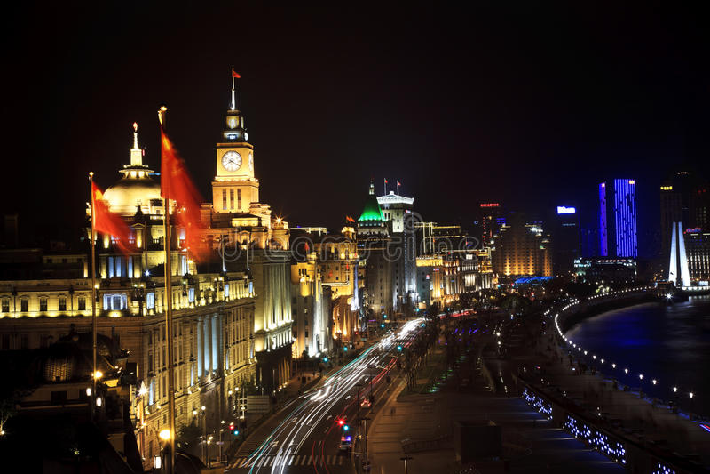 Shanghai Bund at Night With Cars stock photos