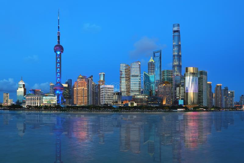 Shanghai,the bund night view royalty free stock photography