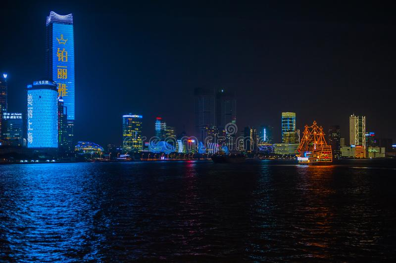 Shanghai Bund. Is located on the banks of the Huangpu River in Shanghai, China. The Bund is 1.5 kilometers in length. It runs from Yan`an East Road in the south royalty free stock photography