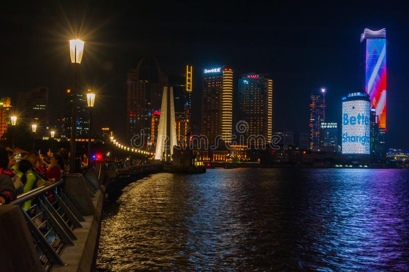 Shanghai Bund. Is located on the banks of the Huangpu River in Shanghai, China. The Bund is 1.5 kilometers in length. It runs from Yan`an East Road in the south stock photography