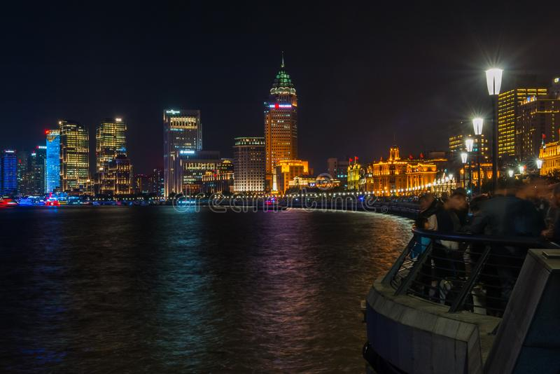 Shanghai Bund. Is located on the banks of the Huangpu River in Shanghai, China. The Bund is 1.5 kilometers in length. It runs from Yan`an East Road in the south royalty free stock photo