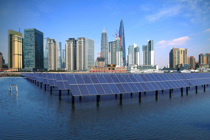 Shanghai Bund skyline landmark at Ecological energy Solar panel royalty free stock photos