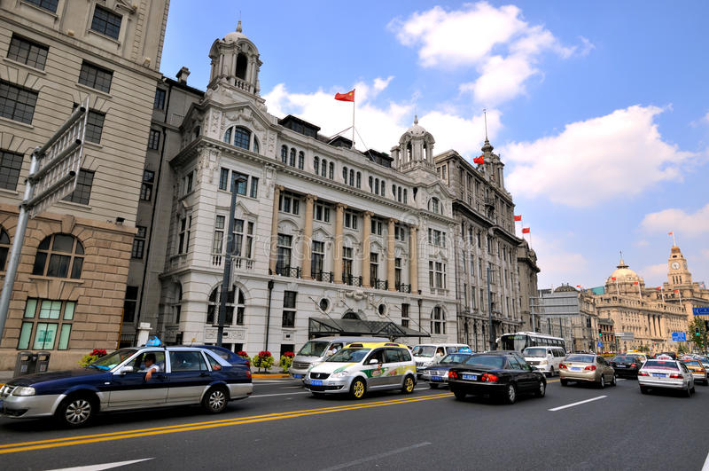 Shanghai Bund Street and buildings, China stock images