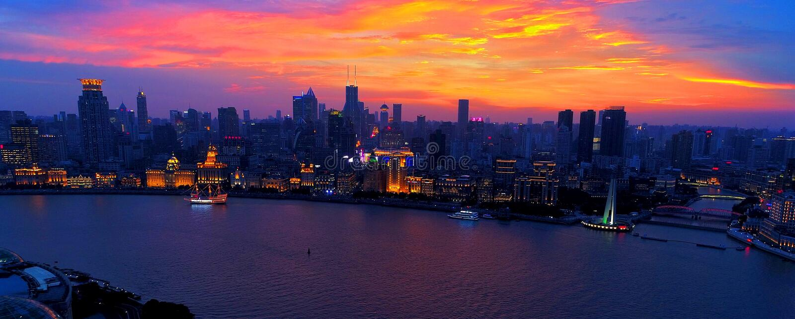 Shanghai Bund at sunset. Sunset at waterfront area in central, the Bund. It`s the part of the former Shanghai International Settlement which runs along the royalty free stock photos