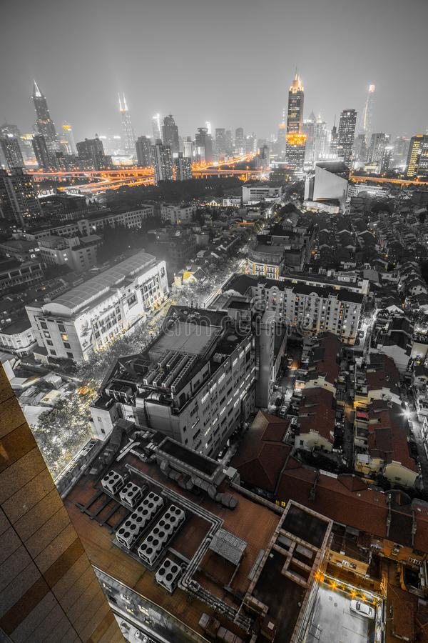 Aerial Night View During the Blue Hour of Modern and Old Buildings of Downtown Shanghai, China. Shanghai, on China's central coast, is the country`s royalty free stock photos
