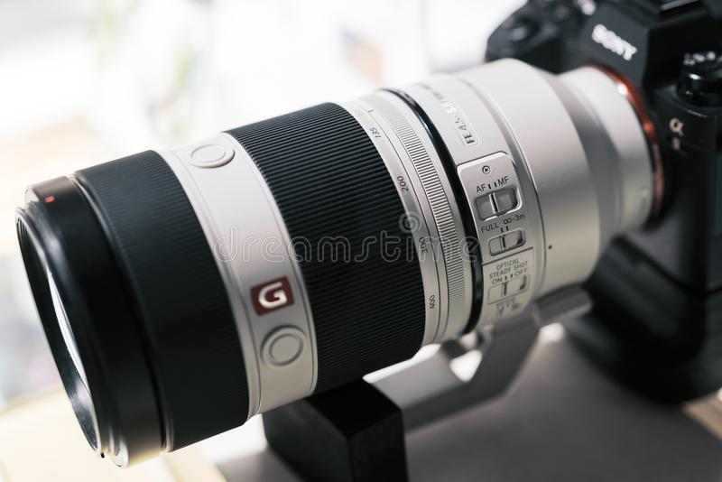 SHANGHAI, CHINA - APR 2018 : the Sony A7 RII mirrorless G master lens. Optical Steady Shot of Sony camera made with macro lens. For editorial propose royalty free stock images