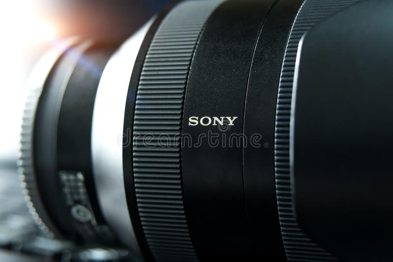 SHANGHAI, CHINA - APR 2018: the Sony A7 RII mirrorless lens. Optical Steady Shot of Sony camera made with macro lens for editorial. Propose stock photo
