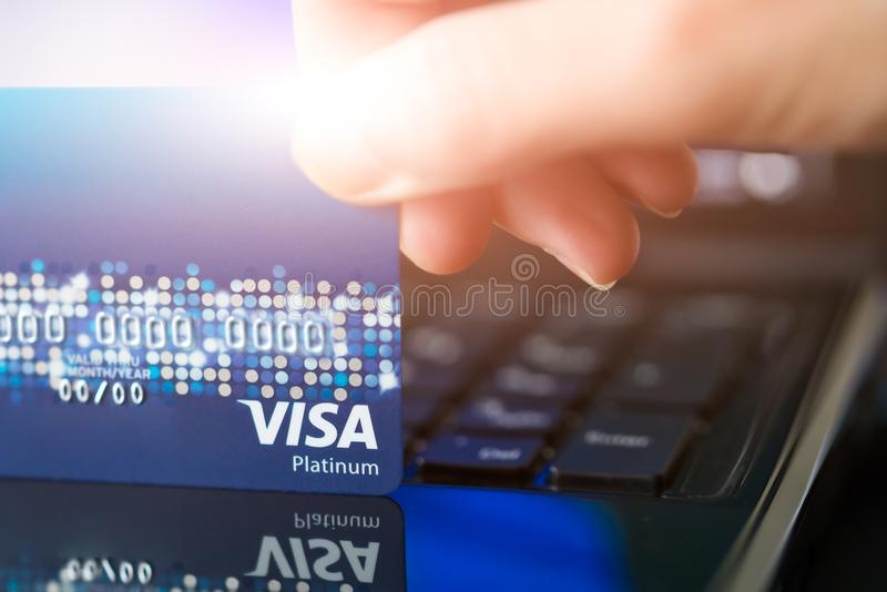 SHANGHAI, CHINA - APRIL 2018: VISA credit card the convenience shopping life concept stock photography