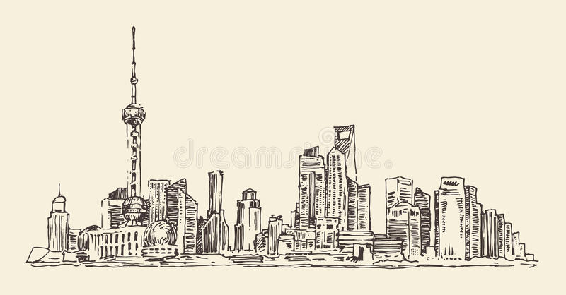 Shanghai, China, arquitetura da cidade, ilustração do vintage, gravou o estilo retro, mão tirada, esboço, ilustração royalty free