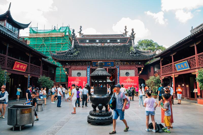 City God Temple Chenghuang Miao in Shanghai, China. Shanghai, China - August 7, 2016 : City God Temple Chenghuang Miao stock image