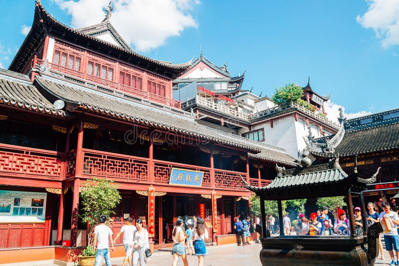 City God Temple Chenghuang Miao in Shanghai, China. Shanghai, China - August 7, 2016 : City God Temple Chenghuang Miao royalty free stock image
