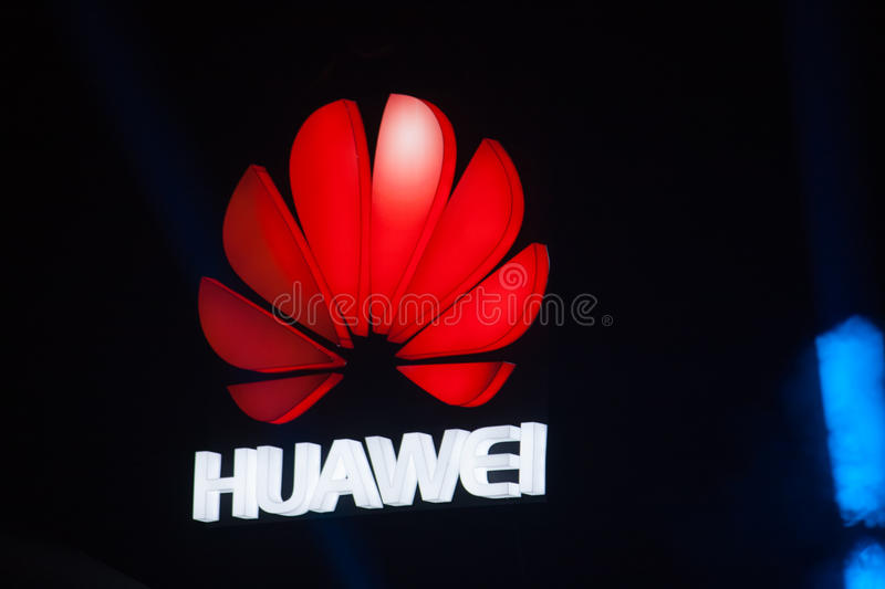 SHANGHAI, CHINA - AUGUST 31, 2016: The logo of Huawei company ab. Ove stage of Connect 2016 information technology conference in Mercedes-Benz Arena in Shanghai stock photo