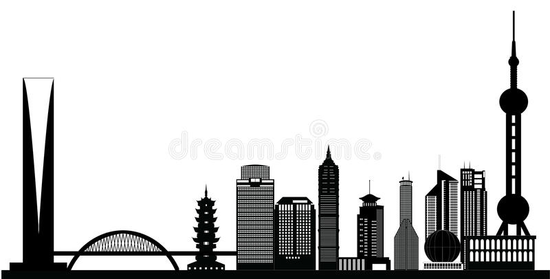Shanghai china city skyline vector illustration