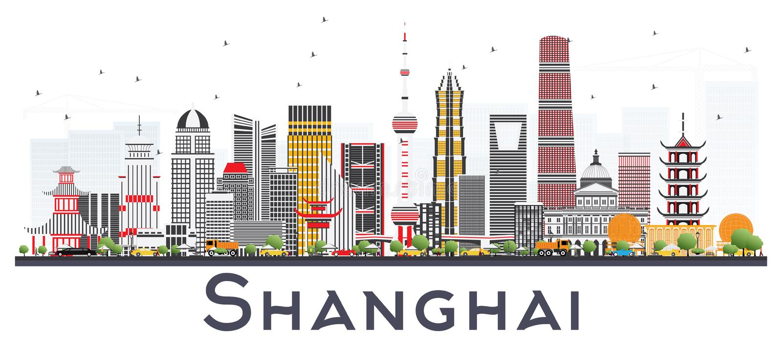 Shanghai China City Skyline with Color Buildings Isolated on White. Vector Illustration. Business Travel and Tourism Concept with Modern Architecture. Shanghai royalty free illustration
